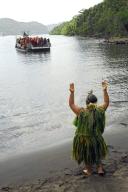 Debarquement des delegations dans la baie de Taipivai. Le Festival des Arts Marquisiens a eu lieu a Nuku Hiva du 15 au 19 decembre 2011. Plus de 3000 personnes etaient presentes sur l'ile pour assister a des demonstrations de danse, de chant et d'artisanat. Le Festival a lieu tous les quatre ans et reunit toutes les populations du pacifique. The Marquiseans Arts Festival occured on Nuku Hiva from december 15th to 19th 2011. More than 3000 people were there to watch demonstrations of dance, singing and artworks. This Festival happens every 4 years and gathers all the populations from the Pacific area. Taipivai, FRENCH POLYNESIA - 16/12/2011